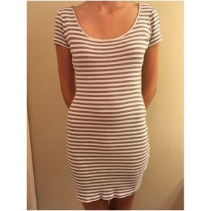 Gray and white striped casual dress.